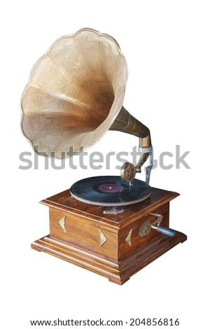 Isolated of vintage Gramophone.