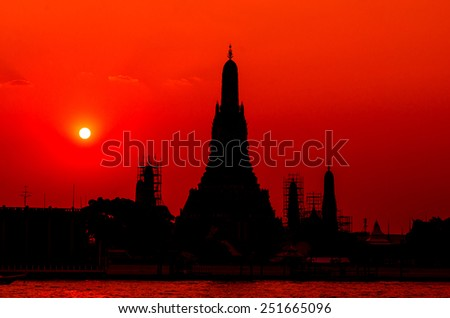 Isolated of Wat Arun Temple in bangkok thailand. in sunset time - stock photo