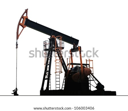 isolated oil well pump - stock photo