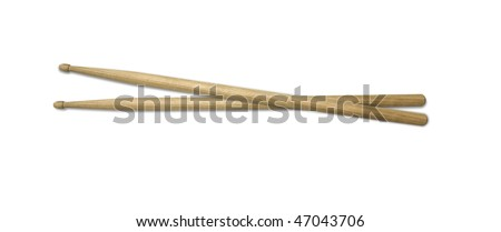 isolated old drumsticks on a white background - stock photo