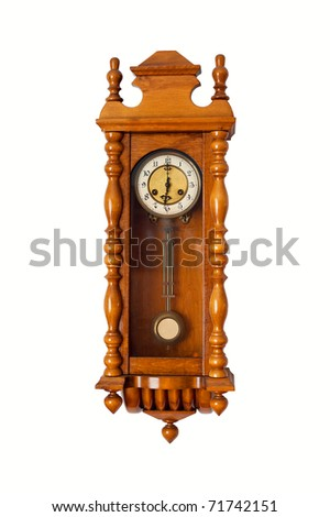 isolated old-fashion wooden clock with pendulum
