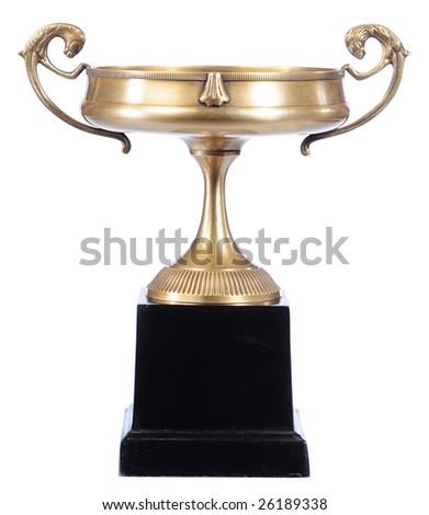 isolated old-fashioned bronze cup on the white background - stock photo