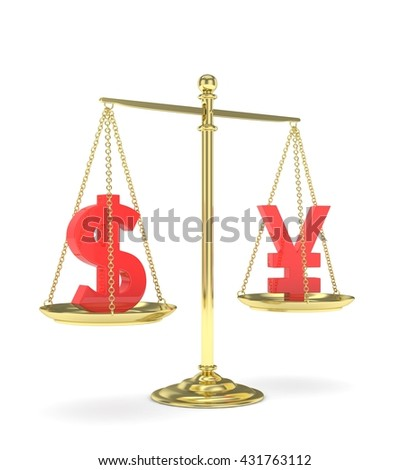 Isolated old fashioned pan scale with dollar and yuan,yen on white background. American and chinese and japanese currency. Currency equality. red money. 3D rendering. - stock photo