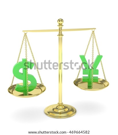 Isolated old fashioned pan scale with dollar and yuan,yen on white background. American and chinese and japanese currency. Currency equality. Green money. 3D rendering.