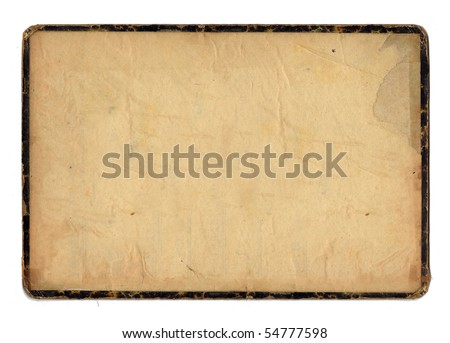 isolated old paper with a black frame - stock photo