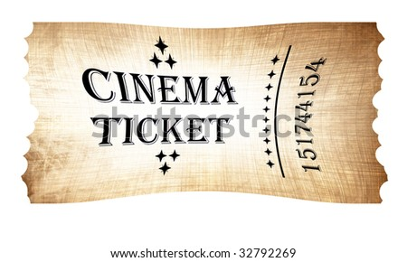 Isolated old vintage cinema ticket on a white background - stock photo