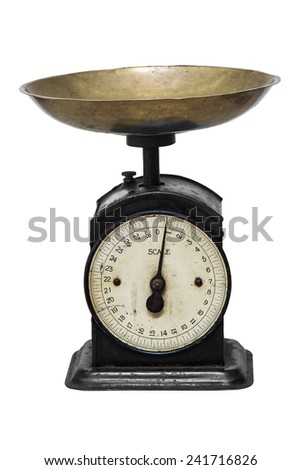 isolated old weight scale on white background - stock photo
