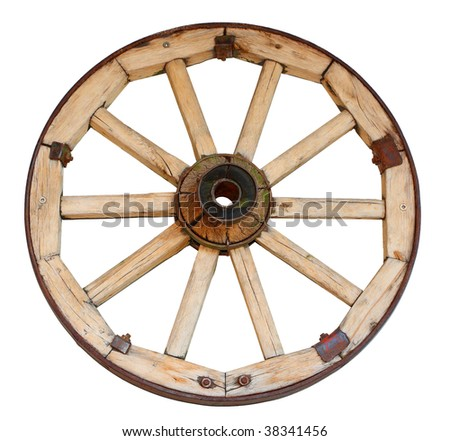 Isolated old wood coach wheel on a white background - stock photo