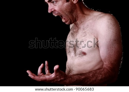 isolated on black angry everyday man concept - stock photo