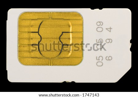 Isolated on black SIM card - stock photo