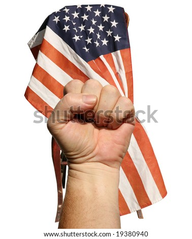 """isolated on white, a human hand gives the """"Power"""" fist sign in front of an american flag draped over a wooden chair - stock photo"""