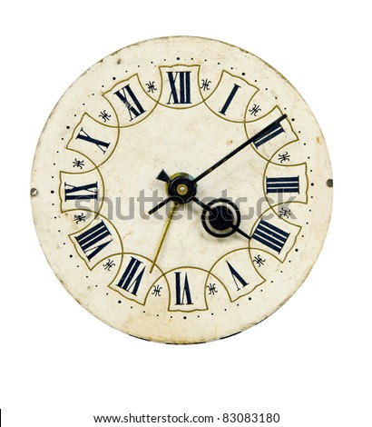 isolated on white and grunge vintage clock-face - stock photo