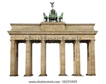 Isolated on white background, the famous landmark of berlin, germany, the brandenburger tor, the brandenburger gate - stock photo