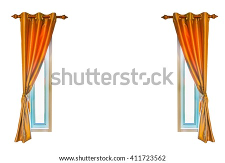 Isolated on white background, Twin Windows and Orange Curtains with copy space - stock photo