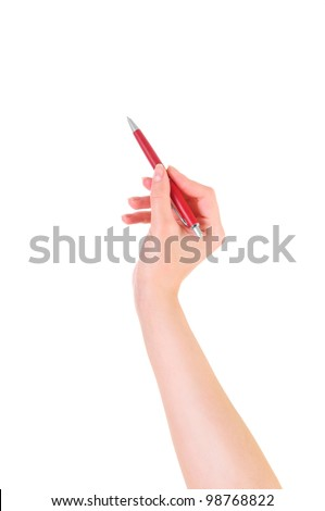 isolated on white. close-up. woman's hand holding a red pen - stock photo