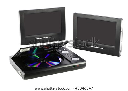 Isolated on white compact media DVD device with double  clear screens. Mass production. - stock photo