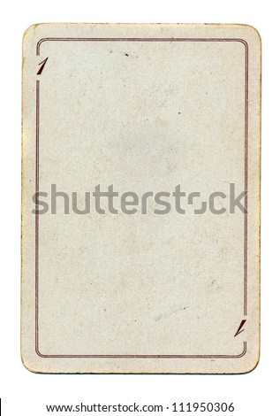 isolated on white empty old playing card paper - stock photo
