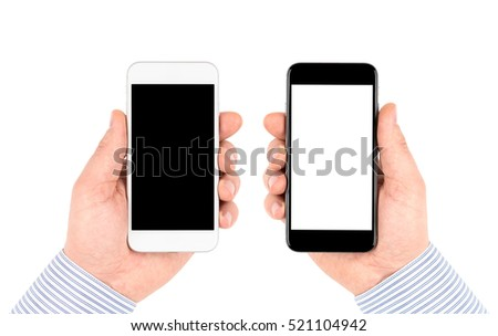 Isolated on white hands holding white and black smartphones with blank screen