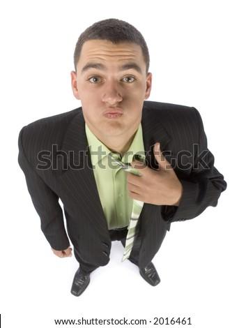 isolated on white headshot of burned out businessman - stock photo