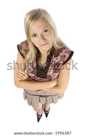 isolated on white headshot of young blonde woman - stock photo