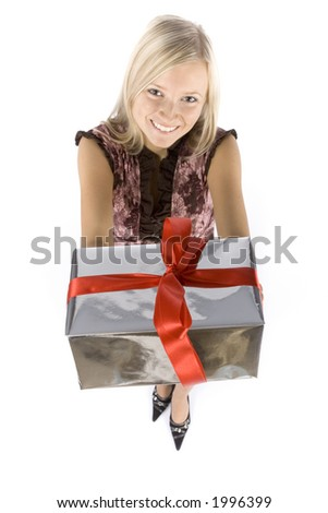 isolated on white headshot of young blonde woman with gift - stock photo
