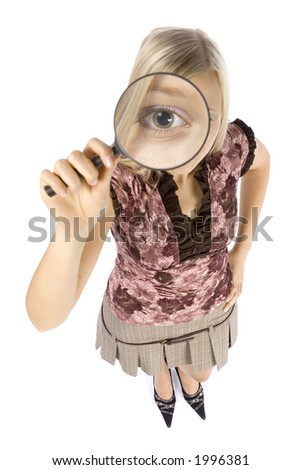 isolated on white headshot of young blonde woman with magnifying glass - stock photo