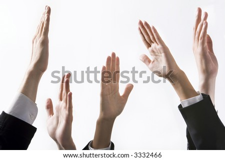 Isolated on white human hands reaching up