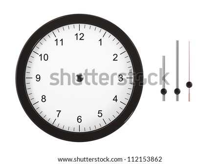 Isolated on white image image of wall clock. You can set the time thanks to separate hours, minutes and seconds hands. Computer generated image. The image contain clipping path. - stock photo