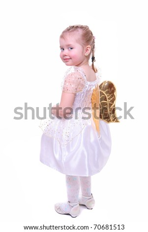 isolated on white little girl with angel wings - stock photo