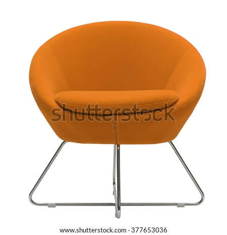 isolated on white orange armchair - stock photo