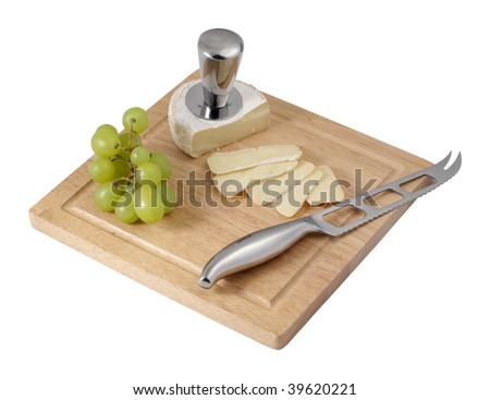 Isolated on white photo of several cheeses and grapes - stock photo