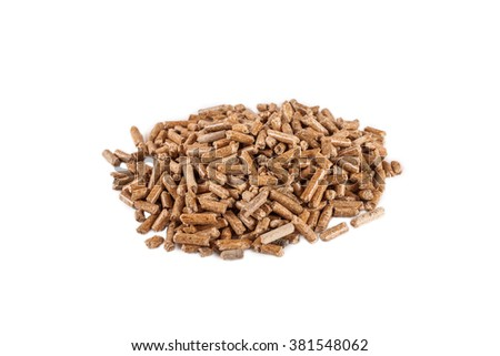 Isolated on white round pile of wooden pellets (alternative fuel) disposed on center - stock photo