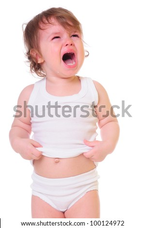 isolated on white. small child is crying hard. Tears stream down his cheeks. photo in high-key - stock photo