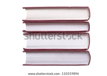Isolated on white stack red book library object - stock photo