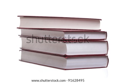 Isolated on white stack red book library object