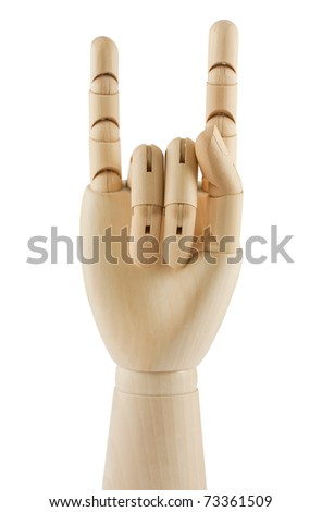 isolated on white wooden hand displaying devil horns - stock photo
