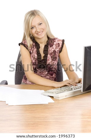 isolated on white young blonde woman with in the office - stock photo