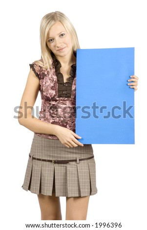 isolated on white young blonde woman with message table - stock photo