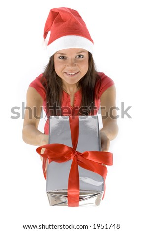 isolated on white young female Santa with gift - stock photo