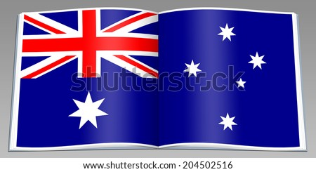 isolated open book depicting flag Australia - stock photo