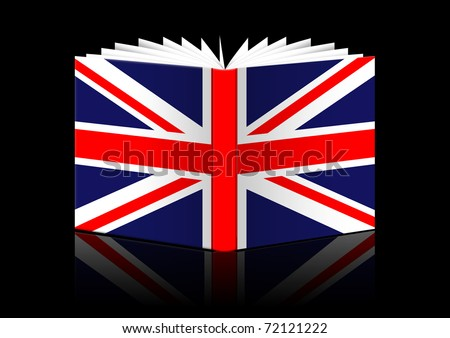 isolated open book depicting flag of Great Britain - stock photo