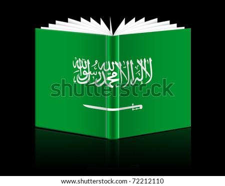 isolated open book depicting Flag of Saudi Arabia - stock photo