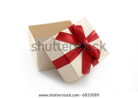 Isolated open gift box with red ribbon