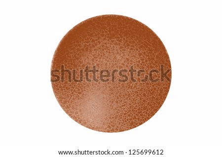 Isolated orange brown color gradient three dimensional sphere with fine network texture on white background - stock photo