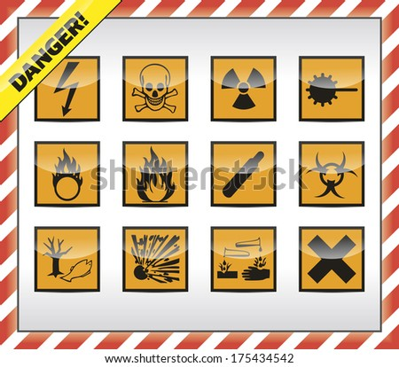 Isolated orange Danger symbol - sign collection with shadow and red-white border. - stock photo
