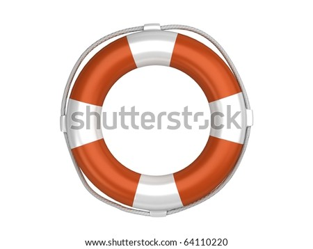 Isolated orange life preserver - stock photo