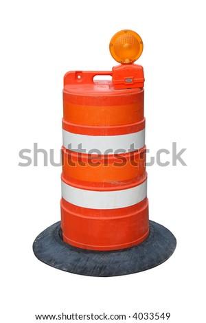 Isolated orange road barrel. - stock photo