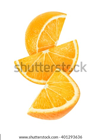 Isolated orange slices. Three falling or flying pieces of orange fruit isolated on white background with clipping path - stock photo
