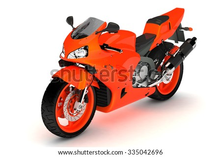 isolated orange sport bike.