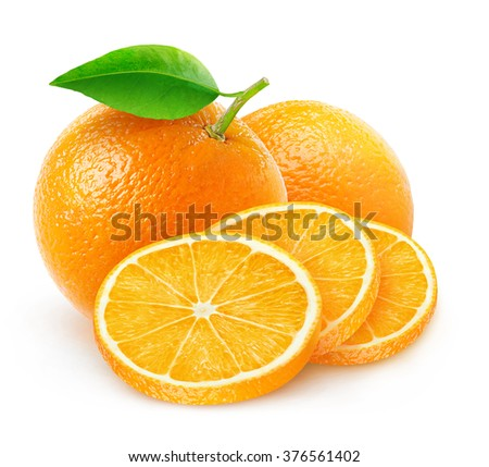 Isolated oranges. Cut orange fruits isolated on white background with clipping path - stock photo